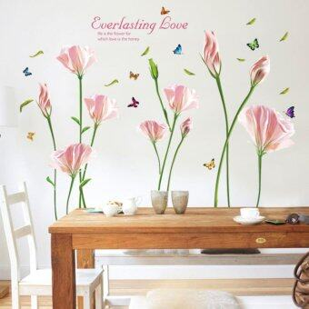 Harga Pink Blooming Flowers English Letters Butterflies Wall Sticker Decal Home Paper PVC Murals House Wallpaper Bedroom Kids Babys Living Room Art Picture Decoration