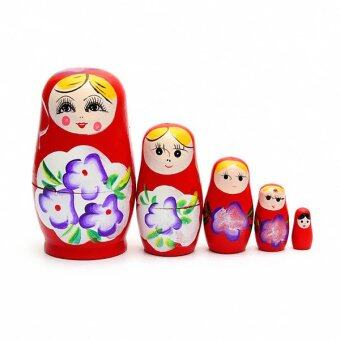 Harga 1 Set 5pcs Matryoshka Russian Nesting Dolls Toy Wooden Doll Girl Children's Toy Red