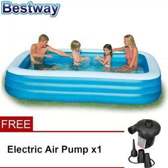 Harga Bestway 2.62 Meter 54006 Large Inflatable Family Swimming Pools + Home use electric pump