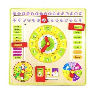 Harga Calendar Clock Learning & Education hanging board multifunctional wooden toys Baby Early Learning Intelligence Development Toys