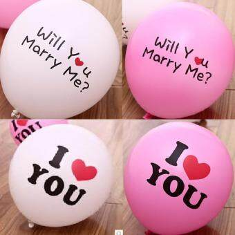 "Harga 12"" ""Will You Marry Me"" ""I Love You"" White & Pink Belon 30 pieces"