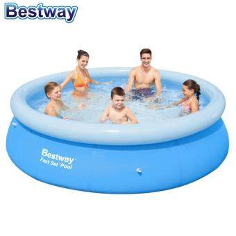 Harga BESTWAY (57266) 10 Feet Fast Setup indoor/outdoor Large Family Inflatable Swimming Pool