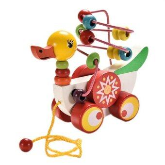 Harga wooden toys Children Kids Baby Colorful Wooden Mini Around Beads Educational Toy Funny Gift duck toy