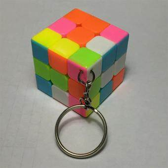 Harga 3x3 Mini Magic Cube Keychain Colorful Stickerless Speed Cube Pendants