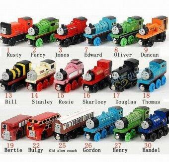 Harga Wooden Trains Model Toy Magnetic Train Kids Toys Gifts for Children Boys Girls(size:17).