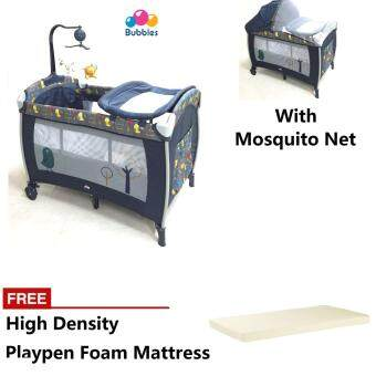 Harga Bubbles Playpen FREE high density baby Mattress - from new born infant - movable - mosquito net - premium grade