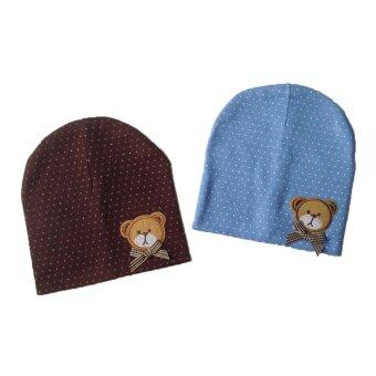 Harga Baby Wear Polka Dots Cute Bear Hat -2pcs/set