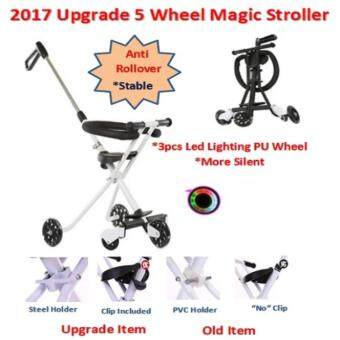 Harga Upgrade version Magic Stroller 5 Wheel Included Fence PU Led Lighting Wheel White Color