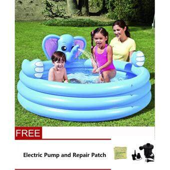 Harga Bestway 3-Ringed Inflatable Elephant Spray Pool + Electric Pump and Repair Patch