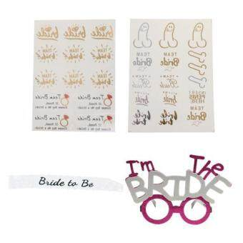 Harga MagiDeal I'm The BRIDE Glasses Bride to Be Lace Sash Temporary Flash Tattoo Stickers