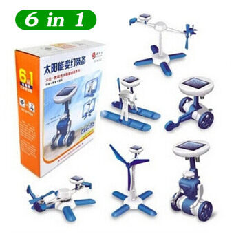 Harga 6 In One Blue Boys Solar Robot Toys for Children DIY Educational Toys DIY Robot Kit Creative Kids Toys Children Solar Toy XQ06