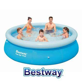 Harga BESTWAY (57266-NP230) 10 Feet Fast Set Pool Large Inflatable Swimming Pool Family Child Adult Pool