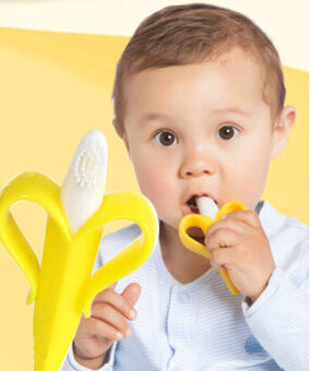 Harga 5PCS Banana Brush Baby Soft Chewable Silicone Toothbrush and Teether Without BPA