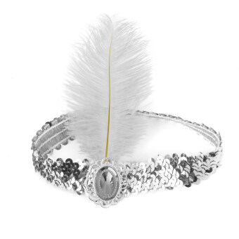 Harga BolehDeals Ladies Sequin White Feather Headband Flapper Fancy Dress Accessories