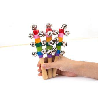 Harga Wooden Stick 10 Jingle Bells Rainbow Hand Shake Bell Rattles Baby Kids Children Educational Toy