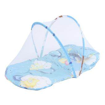 Harga New Infant Baby Mosquito Net Tent Mattress Cradle Bed Canopy Cushion With Pillow Blue