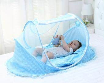 Harga Blue Kids Infant Crib Netting Mosquito Net Tent Baby Pop Up Play Tent Foldable and Portable Travel Crib Canopy Tent