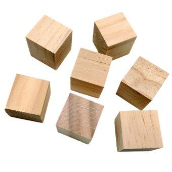 Harga MagiDeal 20Pcs Natural Wooden Squre Cubes Embellishment for Craft 20mm