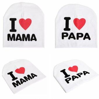Harga 2 Pcs I Love Mama&Papa Baby Knitted Cotton Hat(White)