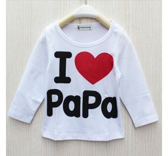 Harga ilovebaby I Love Papa Mama Newborn Baby Boy Girl Long Sleeved T Shirts Tops Clothes - white