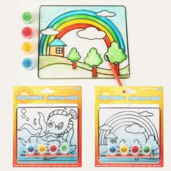 Harga Fun Art Sun catcher Board Glass Painting Kit with Brush Package of 4