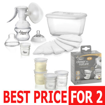 Harga Tommee Tippee Closer to Nature Manual Breast Pump- 421104/38 + Tommee Tippee Closer to Nature Milk Storage Pots 4's - 423010/38