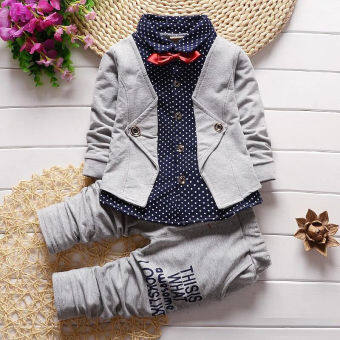 Harga Kids Baby Boys Cotton Long Sleeve Tops + Long Pants Set (Grey)
