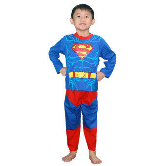 Harga Superman Long Sleeves Costume Pajamas KS6117 Blue