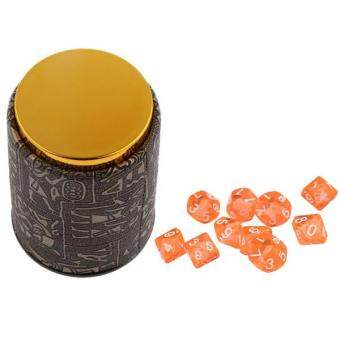 Harga BolehDeals 10 Pieces Orange Ten Sided D10 Dice with 1 Dice Cup for D&D TRPG Party Games