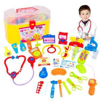 Harga WangWang Store 30Pcs Doctor Nurse Medical Kit Children Role-playing Doctor Toy Suit with Carrying Case for Boys and Girls