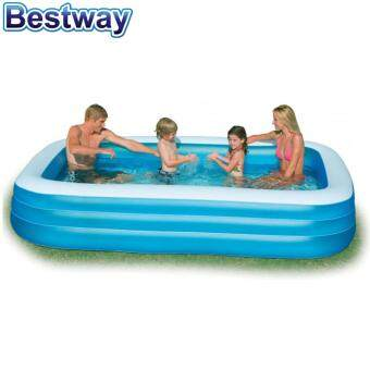 Harga Bestway 3.05 Meter 54009 Extra Large Inflatable Family Swimming Pools 3 Layers [NP170] - (Blue with White top)