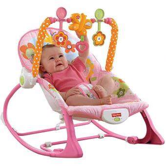 Harga SmartKids Baby to Toddler Rocker Chair Froggie Fisher Price Vibration Bouncer infant rocker music chair -(Pink)