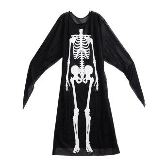 Harga Gracefulvara Ghost Skull Skeleton Costume for Halloween Cosplay (Black)