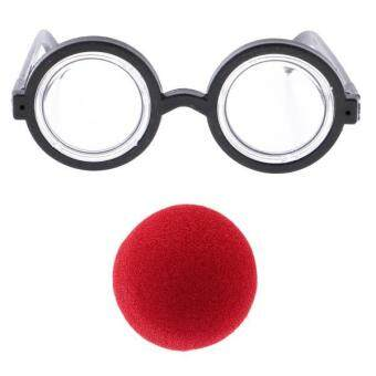 Harga MagiDeal Clown Costume Funny Props Round Eyeglasses & Red Nose