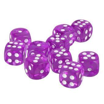 Harga BolehDeals Pack of 10pcs Acrylic Six Sided D6 Dice for D&D TRPG Party Board Game Toys Purple