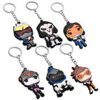 Harga 6Pcs Overwatch Tracer Silicone Keychain Key Ring Pendant Set Collectible