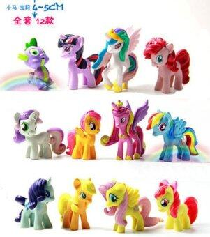 Harga Kids My Little Pony Action Figures Rainbow Dash Pony Toys Set Gift 4-5CM 12Pcs