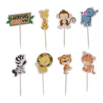 Harga MagiDeal 24 Pieces Wild Animal Cupcake Toppers Cake Picks