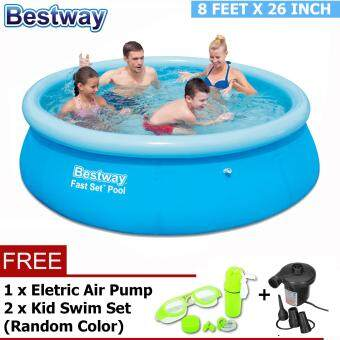 Harga BESTWAY (57265) 8 Feet Fast Set indoor/outdoor Large Family Inflatable Swimming Pool-Premium