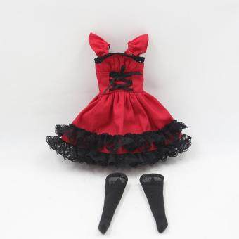Harga Fortune Days Blyth doll Red maid dress with black lace including the black stocking