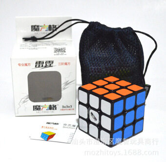 Harga 3x3x3 Magic Cube [Qiyi thunder three] black magic cube lattice order 3 puzzles with cube Rubik's cube tutorial bag