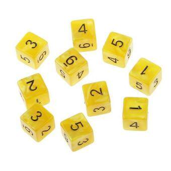 Harga BolehDeals 10pcs Six Sided Dice D6 Playing D&D RPG Party Games Dices Yellow