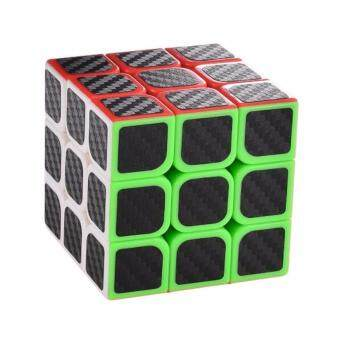 Harga 3x3x3 Carbon Fiber Sticker Speed Cube Smooth Magic Puzzle Cube