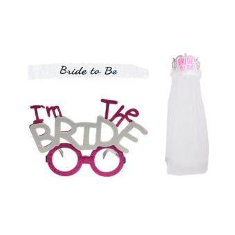 Harga MagiDeal Bride To Be Lace Sash Crown Tiara Veil Hen Night Party I'm The BRIDE Glasses