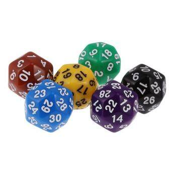 Harga BolehDeals Pack of 6pcs Multi Sided Dice for D&D TRPG Party Board Game Toys Opaque D30