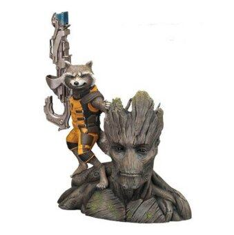 Harga 14CM Guardians of the Galaxy Groot & Rocket Raccoon Boxed PVC Action Figure Collectible Model Toy