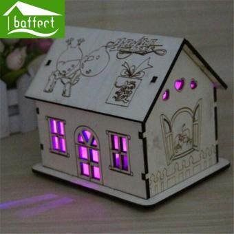 Harga Wooden house Piggy bank with night light cute house Valentine's Day savings money box