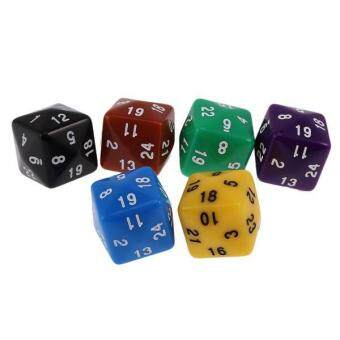 Harga BolehDeals Pack of 6pcs Multi Sided Dice for D&D TRPG Party Board Game Toys Opaque D24