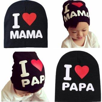 Harga 2 Pcs I Love Mama&Papa Baby Knitted Cotton Hat(Black)