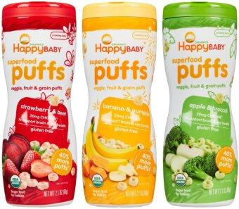 Harga Happy Baby Organic Puffs Mixed 3 bottles (Apple, Banana & Strawberry)